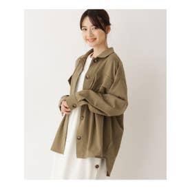 【M-L】フラップポケットミリタリーシャツ (カーキ)