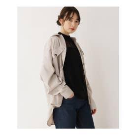 【M-L】フラップポケットミリタリーシャツ (ナチュラル)