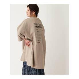 【フリーサイズ】バックプリントビックTシャツワンピース (ベージュ)