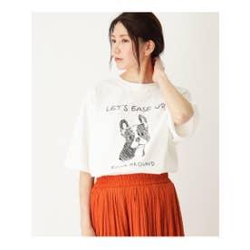【WEB限定/S-L】フレンチブルプリントTシャツ (オフホワイト(003))