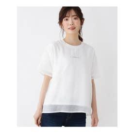 【M-L】ロゴ刺しゅうシアーTシャツ (オフホワイト(003))