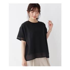 【M-L】ロゴ刺しゅうシアーTシャツ (ブラック(019))