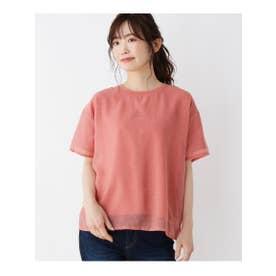 【M-L】ロゴ刺しゅうシアーTシャツ (オレンジ(068))