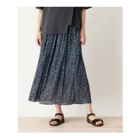 【S-L】楊柳プリーツ柄スカート (ブルー(192))