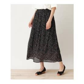 【S-L】楊柳プリーツ柄スカート (ブラック(719))