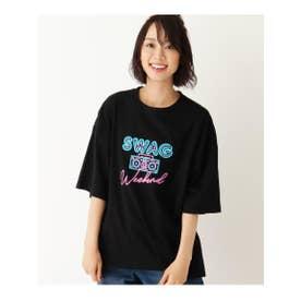 【S-L】ネオンロゴTシャツ (ブラック(019))