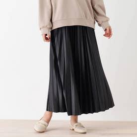 【S-L】レザーフィールプリーツスカート (ブラック)