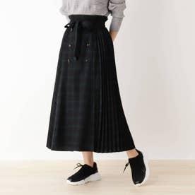 【S-L/洗える】チェック柄前ボタンプリーツスカート (ブラック)