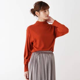 【S-L】カシミヤタッチ袖コンシャスニット (ダークオレンジ)