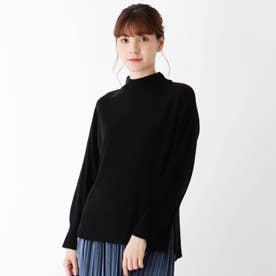 【S-L】カシミヤタッチ袖コンシャスニット (ブラック)