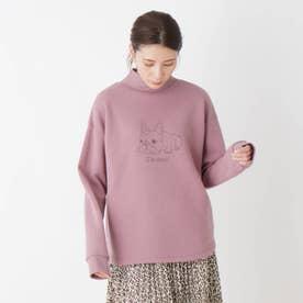 【S-L】裏起毛モックネックアニマルプルオーバー (ピンク)