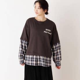 【S-L】チェックシャツレイヤードプルオーバー (チャコールグレー)