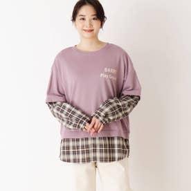 【S-L】チェックシャツレイヤードプルオーバー (パープル)