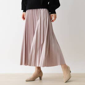 【S-L】レザーフィールプリーツスカート (ピンク)