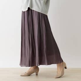 【S-L】シャイニーロングスカート (チャコールグレー)