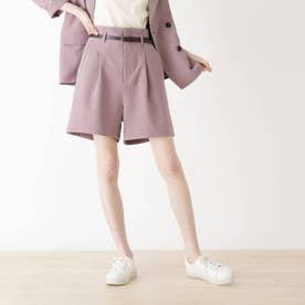 【S-LL】ベルト付きショートパンツ (ピンク)