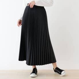 【S-L】エコレザープリーツスカート (ブラック)