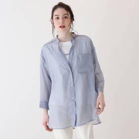 【S-L/2点セット】シアーチュニックシャツ+Tシャツ (サックス)