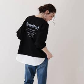 【S-L】裾フェイクレイヤードプルオーバー (ブラック)