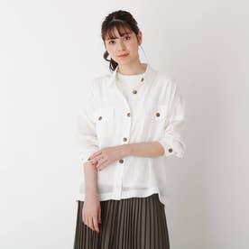【S-L】シアー胸ポケットシャツ (オフホワイト)