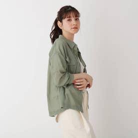 【S-L】シアー胸ポケットシャツ (カーキ)