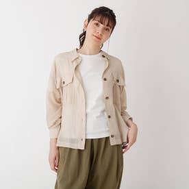 【S-L】シアー胸ポケットシャツ (ライトベージュ)