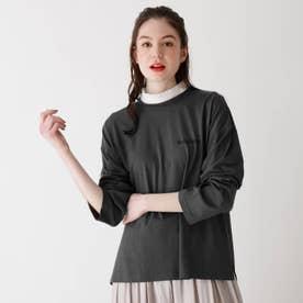 【S-L】フリル衿付きTシャツ (チャコールグレー)