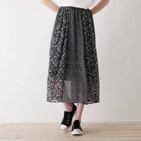 【S-L】花柄切り替えスカート (ブラック)