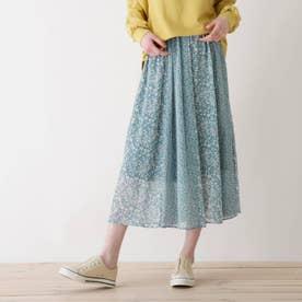 【S-L】花柄切り替えスカート (ブルー)