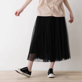 【S-L】チュールドッキングスカート (ブラック)
