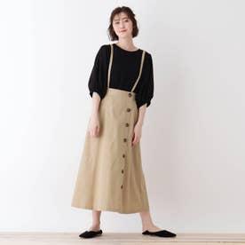 【S-L】サス付きラップ風スカート (ベージュ)