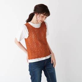 【S-L/2点セット】すかし編みニットベスト+Tシャツ (オレンジ)