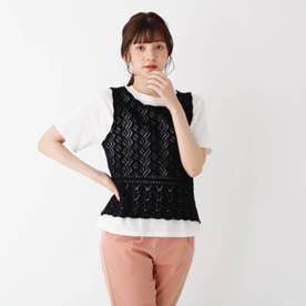 【S-L/2点セット】すかし編みニットベスト+Tシャツ (ブラック)