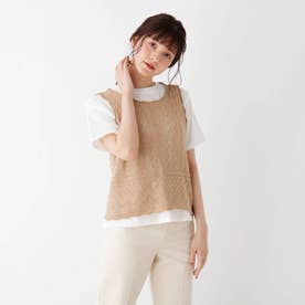 【S-L/2点セット】すかし編みニットベスト+Tシャツ (ベージュ)