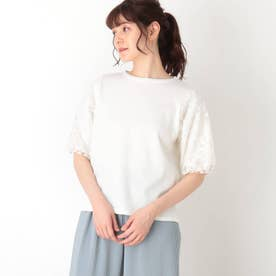 【S-L】袖花チュールレースプルオーバー (オフホワイト)
