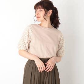 【S-L】袖花チュールレースプルオーバー (ライトベージュ)
