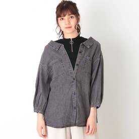【S-L】デニムドッキングシャツ (ブラック)