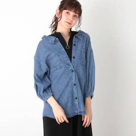 【S-L】デニムドッキングシャツ (ネイビー)