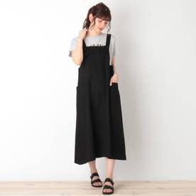 【S-L】ワークジャンパースカート (ブラック)