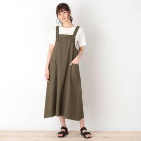 【S-L】ワークジャンパースカート (カーキ)
