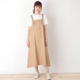 【S-L】ワークジャンパースカート (ベージュ)