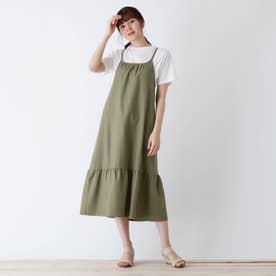 【S-L】麻調キャミワンピースセット (カーキ)