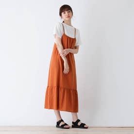 【S-L】麻調キャミワンピースセット (オレンジ)