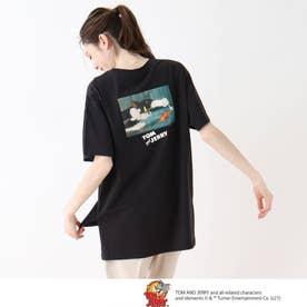 【S-L】トムとジェリー BIGTシャツ (ブラック)