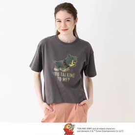 【S-L】トムとジェリー フロントプリントTシャツ (チャコールグレー)
