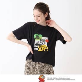 【S-L】トムとジェリー フロントプリントTシャツ (ブラック)