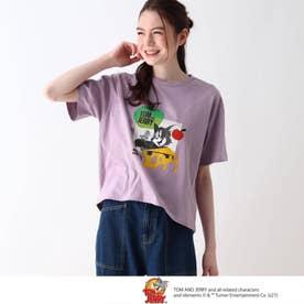 【S-L】トムとジェリー フロントプリントTシャツ (ライトパープル)