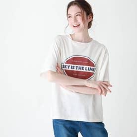 【S-L】前プリントロゴTシャツ (オフホワイト)