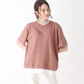 【S-L】ワッフルフェイクTシャツ (ライトオレンジ)