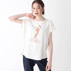 【S-L】アニマルフレンチスリーブコラボTシャツ (オフホワイト)